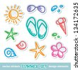 set of hand drawn summer symbols on white background - stock vector