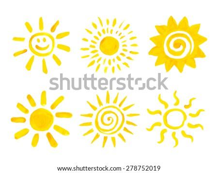 Set of hand drawn sun icons. Vector illustration. - stock vector