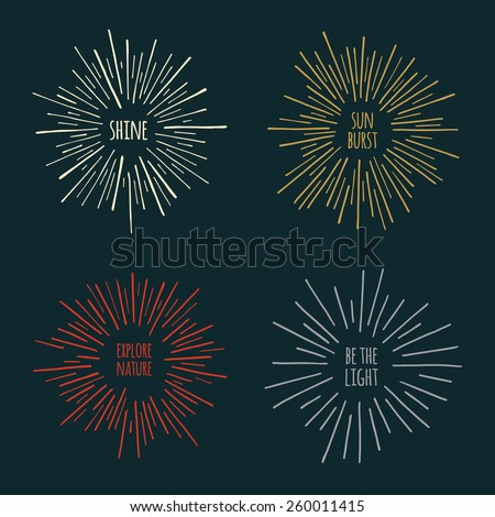 Set of hand-drawn sunburst design element graphics - stock vector