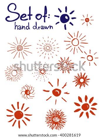 Set of hand drawn suns - stock vector