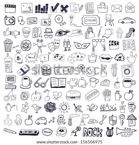 Set of hand drawn symbols - stock vector