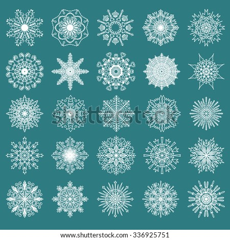 Set of 25 hand drawn symmetric white snowflakes isolated on a green background. Traditional Xmas and new year decoration elements for creative design. - stock vector