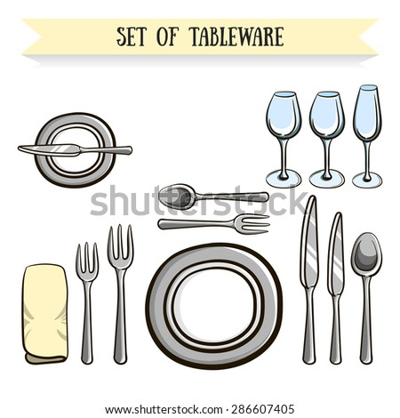 Set of hand drawn tableware. Vector illustration. 10 EPS - stock vector
