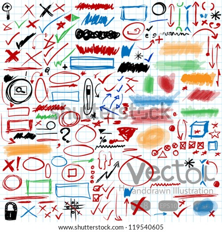 set of hand drawn,text correction and highlighting elements - stock vector