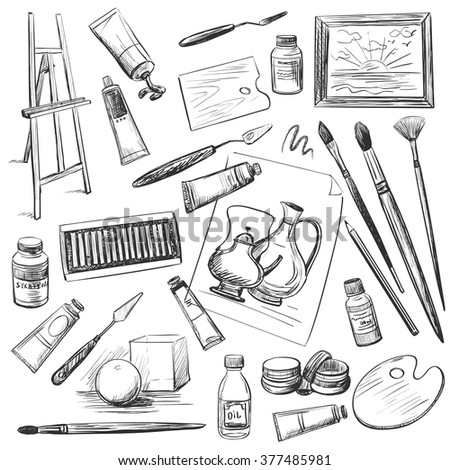 Set of hand drawn tools and materials the artist