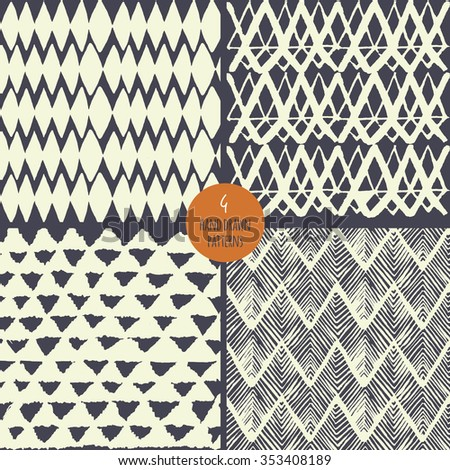 Set of hand drawn triangles geometric seamless pattern in vector. Hand drawn ethnic ornament repeating backgrounds.