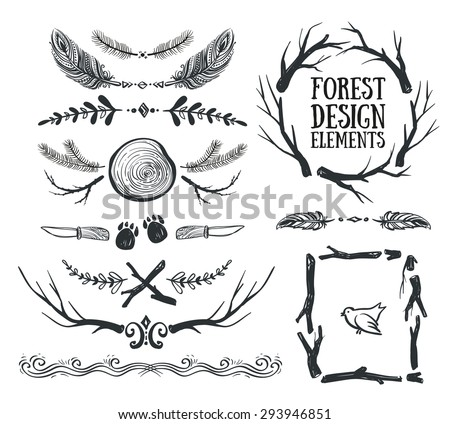 Set of hand drawn tribal frames and dividers. Forest design. - stock vector