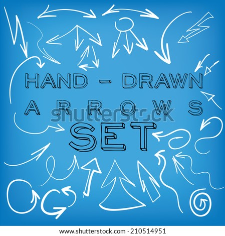 Set of hand-drawn vector arrows. - stock vector