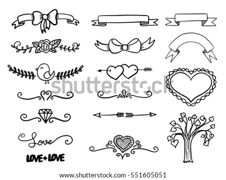 Set of hand drawn vector banner heart curls and borders. Vector illustration.