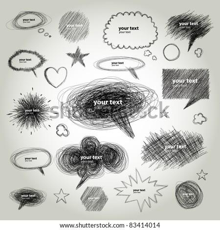 Set of Hand drawn vector Comical Speech Bubbles - stock vector
