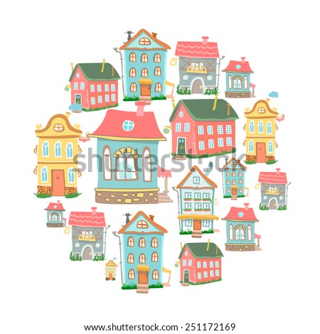 Set of hand-drawn vector Cute cartoon houses in different architectural styles isolated on white - stock vector