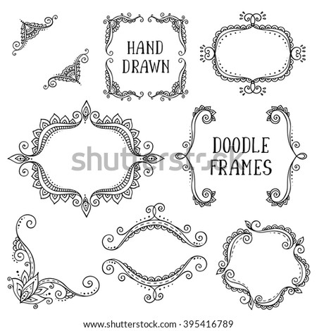 Set of hand drawn vector doodle frames on white background. Beautiful modern design elements for invitation, greeting card, coloring book - stock vector
