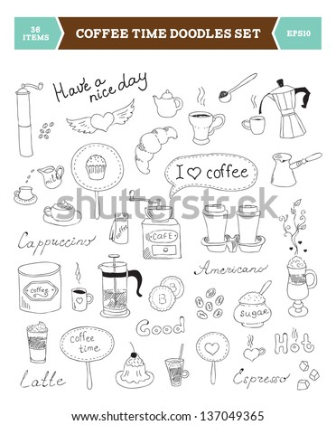 Set of hand drawn vector illustration of coffee doodles sketch elements. Isolated on white background - stock vector