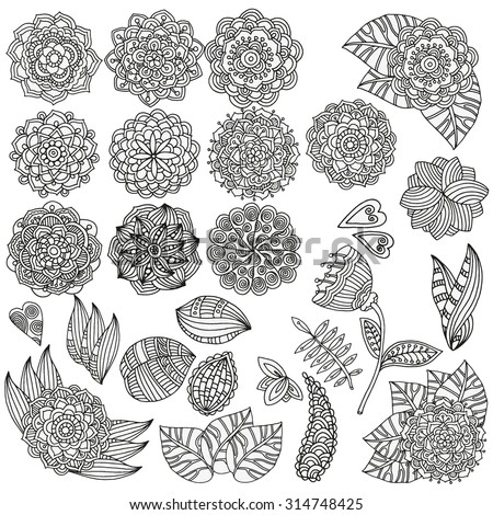 Set of hand drawn vector mandalas, flowers, leaves. Vintage, tribal, artistically drawn, zentangle, stylized floral elements. Sketch by trace. - stock vector