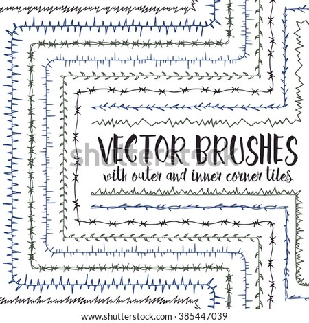 Set of 10 hand drawn vector pattern brushes with inner and outer corner tiles. Editable decorative elements for your design. Perfect for frames, dividers, borders, ornaments. Handmade ink illustration - stock vector