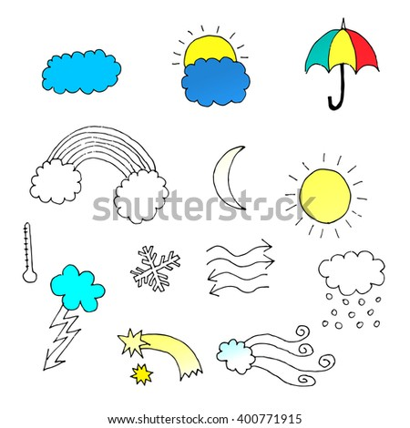 Set of hand drawn vector weather icons. - stock vector