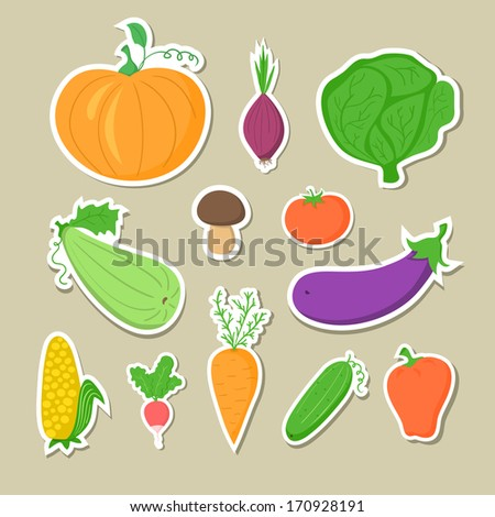 Set of hand-drawn vegetables, stickers without contour icons