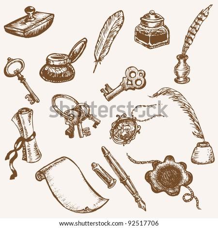 Set of Hand Drawn Vintage Elements - Vintage Letter Set in vector - stock vector