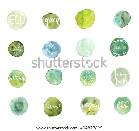 Set of hand drawn watercolor eco stains with hand-lettering text and floral elements. Template for design. Ecology labels. - stock vector