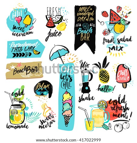 Set of hand drawn watercolor ribbons and stickers of summer. Vector illustrations for summer holiday, travel and vacation, restaurant and bar, menu, sea and sun, beach vacation and party. - stock vector