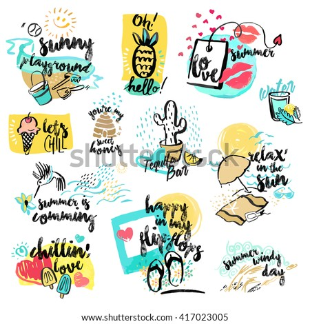 Set of hand drawn watercolor signs of summer. Vector illustrations for summer holiday, travel and vacation, restaurant and bar, menu, sea and sun, beach vacation and party. - stock vector