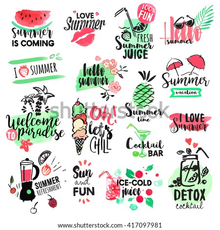Set of hand drawn watercolor summer badges and elements. Vector illustrations for summer holiday, travel agency, restaurant and bar, menu, sea and sun, beach vacation and party. - stock vector