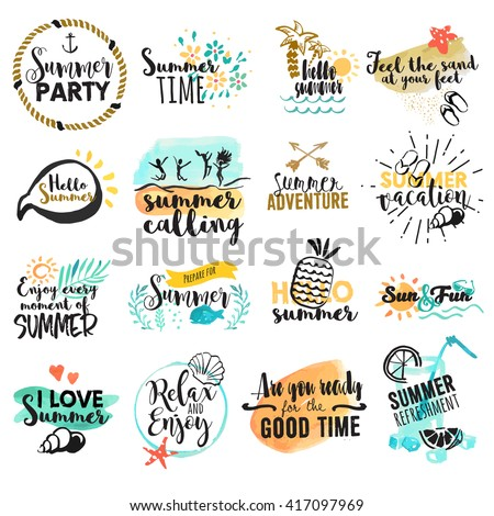 Set of hand drawn watercolor summer signs and banners. Vector illustrations for summer holiday, travel agency, restaurant and bar, menu, sea and sun, beach vacation and party. - stock vector