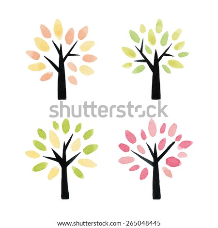 Set of hand drawn watercolor trees. Vector illustration.  - stock vector