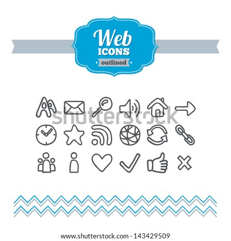 Set of hand-drawn web icons - stock vector