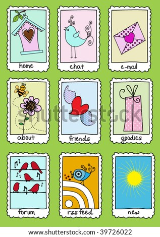 Set of 9 Hand Drawn Website Icons on Stamp Plates (easy to change titles, mix and match) - stock vector