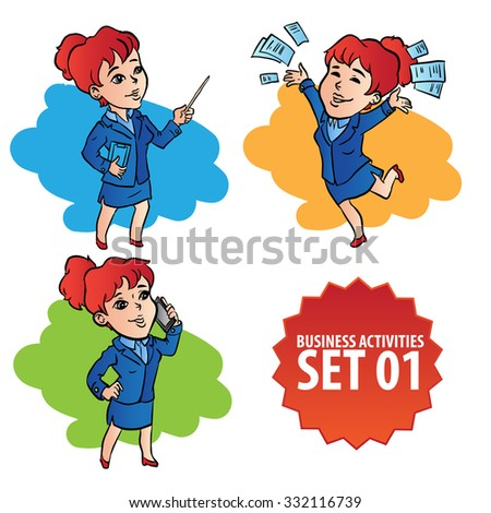 Set of hand drawn woman character doing various business activities