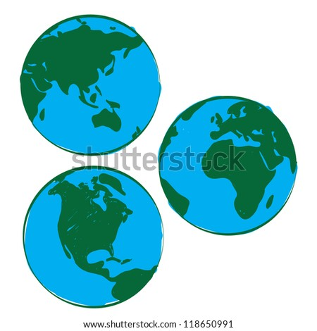 Set of Hand-drawn world - stock vector