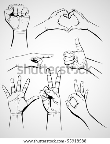 Set of hand gesture - stock vector