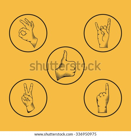 Set of hand gesture vector illustration. Isolated on yellow background. - stock vector