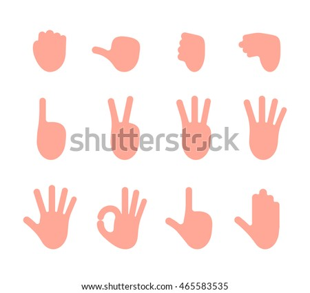 Set of 12 hand gestures fist, pointing, like, dislike, victory, palm, ok, gun, hold. Cartoon vector flat-style illustration