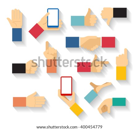 Set of hand gestures icons in flat style. Thumb, palm, finger pointer. Vector illustration - stock vector
