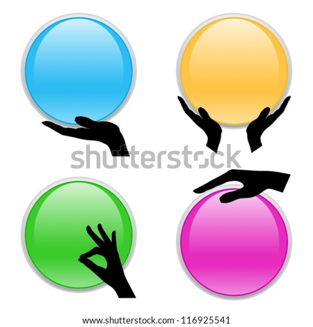Set of hand holding circle card - stock vector