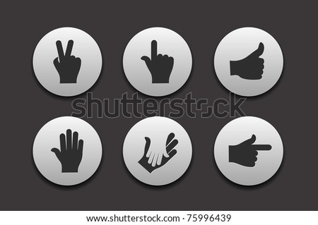 Set of Hand Icons graphics for web design collections. - stock vector