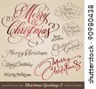 SET of 9 hand-lettered CHRISTMAS GREETINGS - handmade calligraphy, vector (eps8) - stock vector