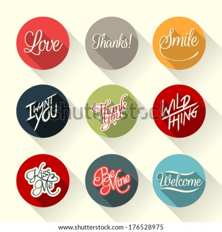 Set of hand lettering retro cards and vector labels with logos for web and print - stock vector