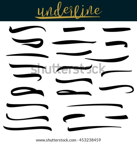 Set Of Hand Lettering Underlines Lines Isolated On White. Stroke, Line, Marker. Typographic Design. Vintage Elements For Housewarming Posters, Greeting Cards, Home Decorations. Vector Illustration - stock vector