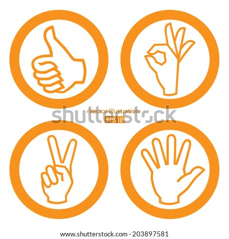Set of hand on white background. - stock vector