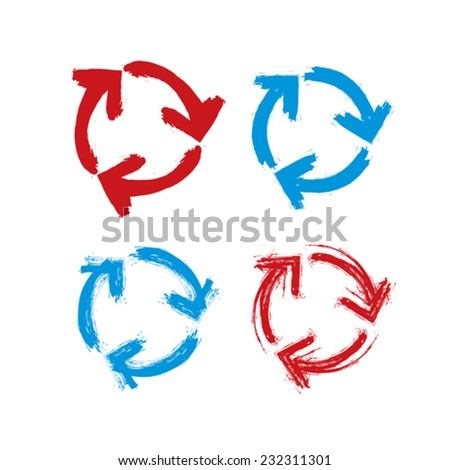 Set of hand-painted blue and red update signs isolated on white background, collection of simple hand-drawn repeat navigation icons. Brush drawing refresh multimedia symbols. - stock vector