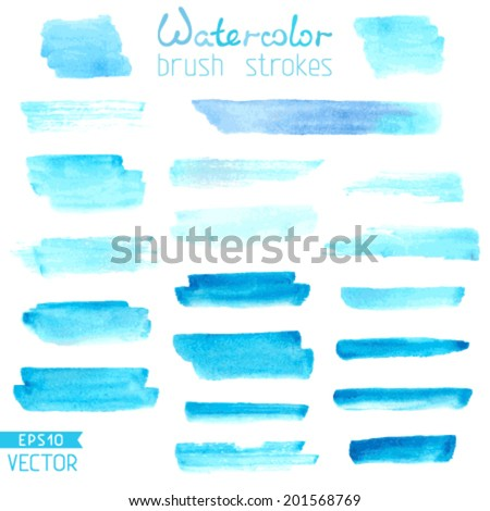 Set of hand-painted brush strokes. Blue watercolor stripes isolated on white background. Vector illustration.  - stock vector