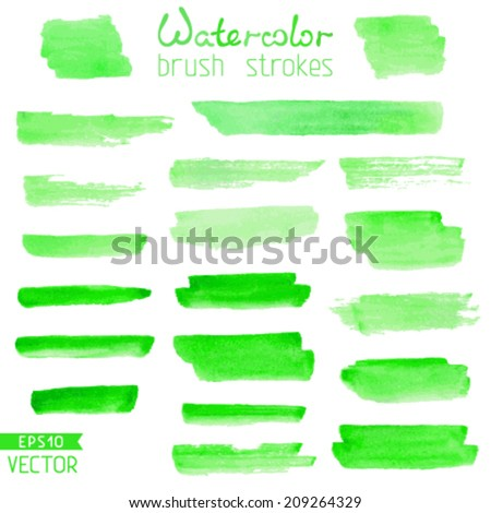 Set of hand-painted brush strokes. Green watercolor stripes isolated on white background. Vector illustration.  - stock vector