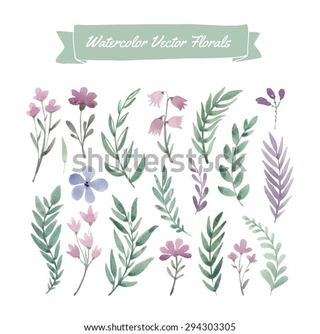 Set of hand painted purple watercolor vector flowers and green leaves. Design element for summer wedding, spring congratulation card. Perfect floral elements for save the date card. - stock vector