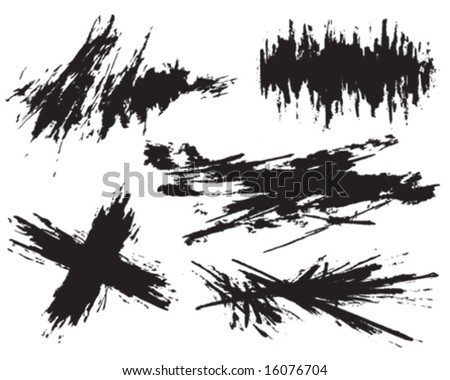 Set of hand painted vector textures - stock vector