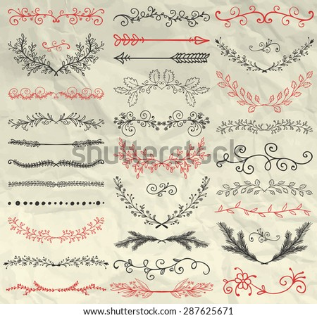 Set of Hand Sketched Doodle Design Elements. Decorative Floral Dividers, Arrows, Swirls, Laurels and Branches on Crumpled Paper Texture. Pen Drawing Vintage Vector Illustration. Pattern Brushes - stock vector