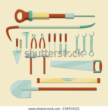 Set of hand tools. EPS10 vector image, simple graphic. - stock vector