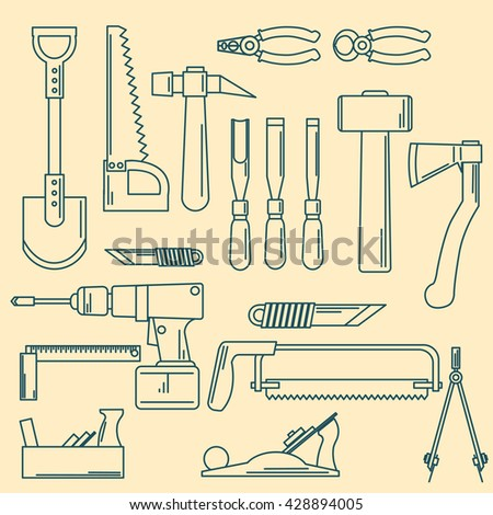 set of hand tools for productive work.Hand tools. Hand tools. Hand tools. Hand tools.  Hand tools. Hand tools. Hand tools. Hand tools. Hand tools. Hand tools. Hand tools. Hand tools.  - stock vector